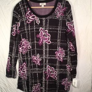 Style & Co Floral Long Sleeve Top Size Large NWT